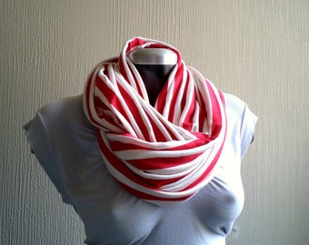 Striped Infinity scarf, cowl, scarf,red and white cotton jersey, lightwiegth and versatil.Nautical stripe