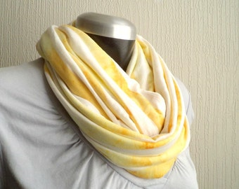 Circle  scarf,cowl, Infinity scarf, washed marigold yellow  jersey knit, lightwight and cozy,EXTRA WIDE. Autumn accessory