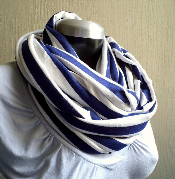Infinity scarf, cowl, scarf, navy and white striped cotton jersey, light and cozy, EXTRA WIDE.READY To SHIp.
