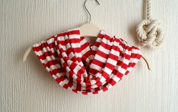 Striped Infinity scarf, cowl, scarf, in Red and white jersey knit, light and cozy. Fun circle scarf.