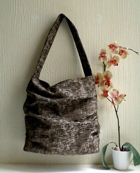 SALE. Vegan Ruffled shoulder bag,  Slouch tote bag, Chocolate brown color,Ready To Ship.