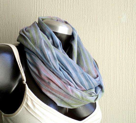 Infinity scarf, cowl, scarf, cotton 100% multicolored print , ultra lightweigh, airy and fun, blue,green and pink, READY To SHIp.