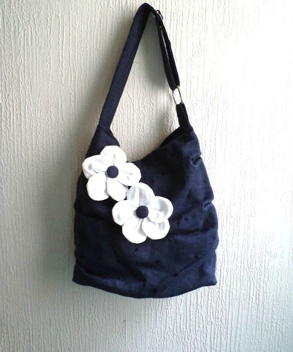 SALE. Ruffled shoulder bag,  Slouch tote bag, Navy linen with embroidery polka dots, Detachable flowers brooches. Ready To Ship.