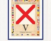 Letter V - Vintage International Maritime Code Signal Flag - I Require Assistance - Printable Digital Art  - 8.5 x 11 by Nahhan73 (IS-022)