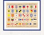 International Maritime Signals - Alphabet Flags - Morse Code - Vintage - Printable Digital Wall Art - 11 x 8.5 by Nahhan73 (IS-027)