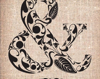 Ampersand Floral - Image Download Sheet Transfer to Fabric / Pillows / Burlap / Vintage Digital Clip Art by Nahhan73 (PG-005)
