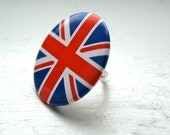 Union Jack Ring Cute Ring Jubilee London Ring Red White Blue