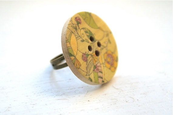 Floral Button Ring Wooden Ring Adjustable Ring