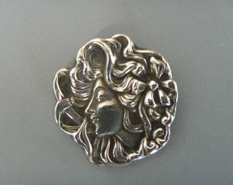 Antique Art Nouveau Sterling Pin, Woman in Profile, American D.S. Spaulding, Not a Repro