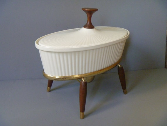 RESERVED SHEMALE Su/Ernest Sohn Creations Oval Casserole with Warming Stand circa 1950