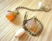 Flower agate stone beaded peach and pink  gift pendant