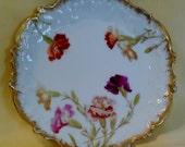 Antique Carnation Plate by T.V Tressemann & Vogt, Limoges, France, Fine Bone China 18c