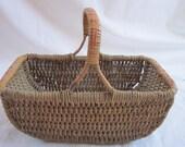 Vintage 1940s Wicker Basket Market Shopping Day