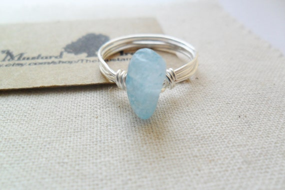 Rough blue aquamarine gemstone chip wire wrapped silver ring