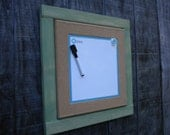 Green Custom built Cork board Magnetic Dry Erase and Bulletin combo