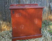 Vintage primitive distressed wooden trash can or clothes hamper (READY TO SHIP)