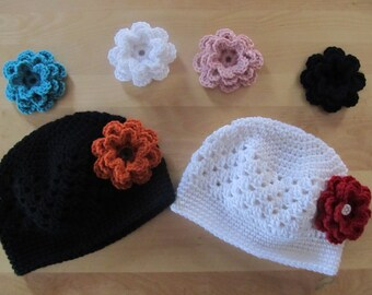 Hat with 3 Interchangeable Flowers of Your Choice