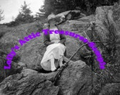 Digital Download-20s Gal On the Rocks in Maine
