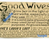 Digital Download-Vintage Sapolio AD about Good Wives and Loves Labor Lost