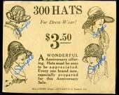 Digital Download-Hat Sale-300 Hats Newspaper Ad in 1923.