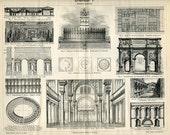 Vintage 1894 Bookplate of Roman Architecture
