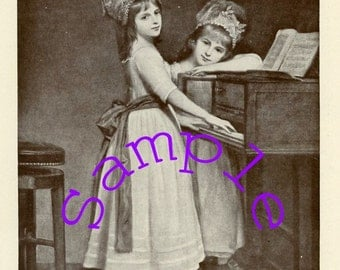 "Digital Download-Old Book Print called ""At the Spinet"""
