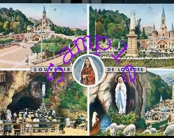 Digital Download-Vintage Postcard from Lourdes, France-1963