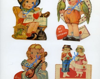 Digital Download-Vintage Valentine Collage Sheet4  for Collectors or Craft Projects