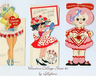 Digital Download-Vintage Valentine Collage Sheet6  for Collectors or Craft Projects
