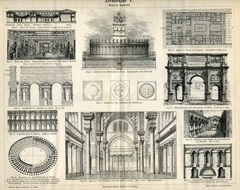 Vintage 1894 Bookplate of Roman Architecture