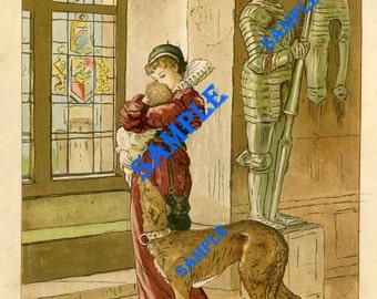 Digital Download-Vintage Print-Elizabethan Mother and Child
