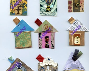 TREASURY ITEM-Digital Download-Tiny Paper Houses2 - Mixed Media Collage Style