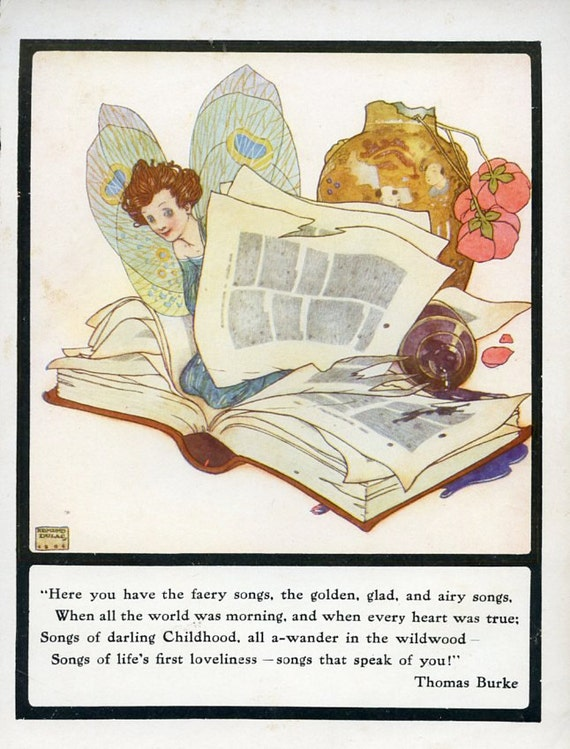 """1904 Vintage Book Print by Edmund Dulac called """"Faery Songs"""""""