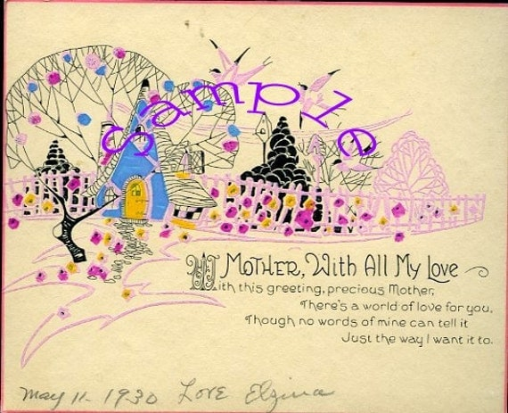Digital Download-Vintage Card for Mother With All My Love