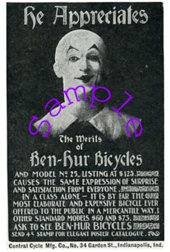 Digital Download-Clipart-Mime advertising Ben Hur Bicycles-1897