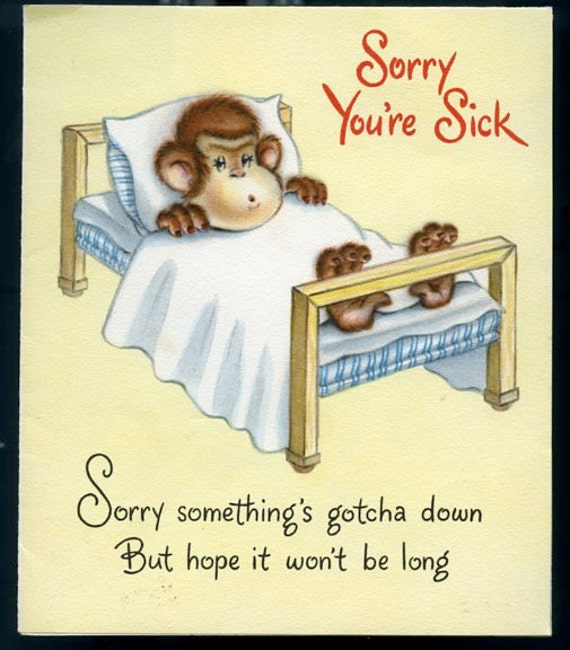 Wonderful Vintage Get Well Card with Monkey Swinging from the Chandelier