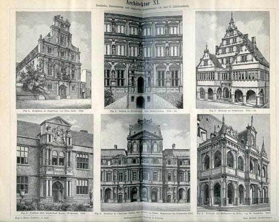 Vintage 1894 German Lexicon plate-Dutch, French, UK Architecture