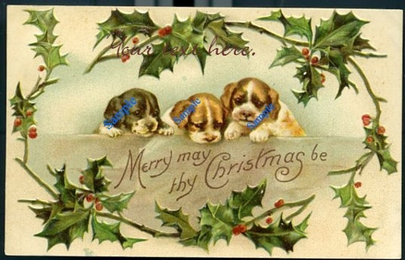 Digital Download-Vintage Christmas Postcard with Puppies