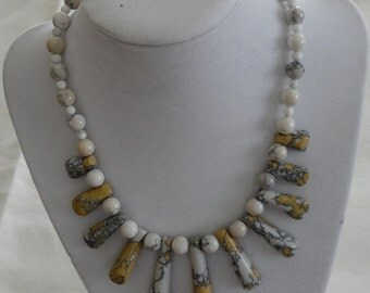 Yellow, White, and Black Turquoise Necklace
