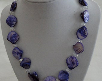 Purple Mother of Pearl Shell and Crystal Necklace