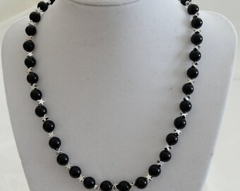 Black Onyx and Silver Star Neclace