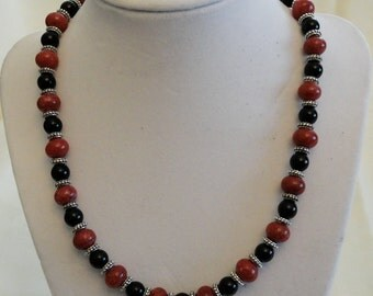 Fuschia Jade and Black Onyx Necklace