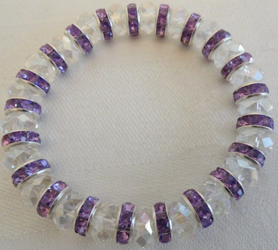 Clear and Purple Crystal Stretchy Bracelet