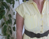 1960s Yellow & White Striped Shirt Dress