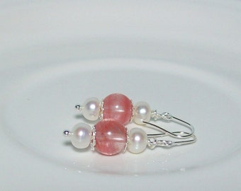Pink and White Earrings. Cherry Quartz and Freshwater Pearls.