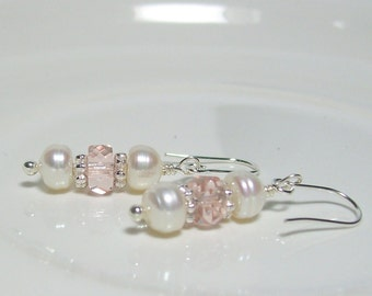 Sweet Pink and White Earrings. Czech Crystals and Freshwater Pearls.