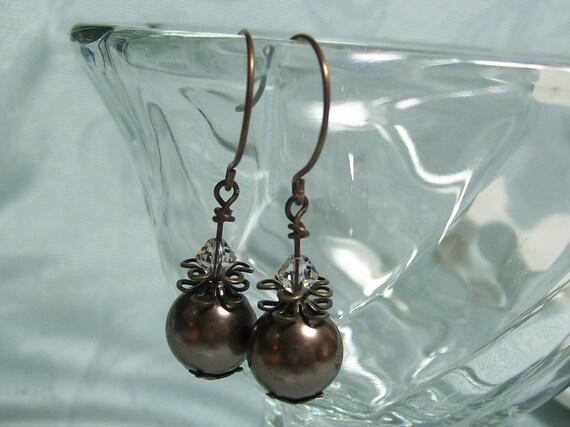 Pearl Earrings. Brown Swarovski Pearls and Antiqued Brass.