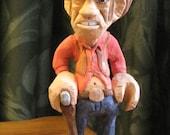 Carved Wood Caricature Cowboy/Gunslinger