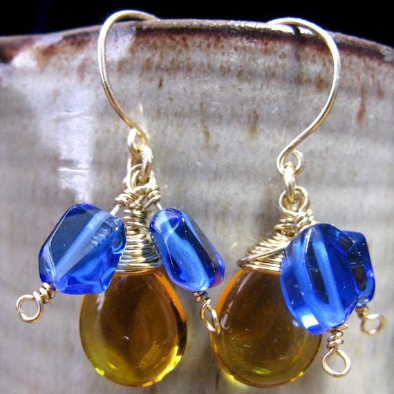 Cobalt Blue Quartz and Citrine Colored Czech Dangle Earrings