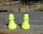 Neon Yellow Chess Pawn Earrings